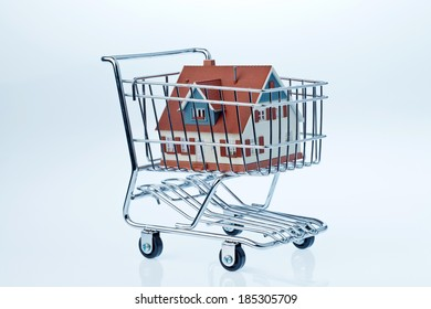 a model of a house in a shopping cart. symbolic photo for house purchase.
