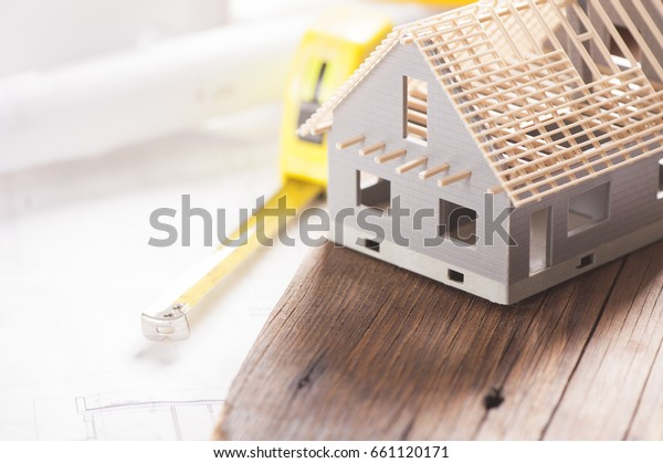 Model house under construction. New house concept