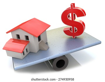 Model house and US Dollar symbol balancing on a seesaw