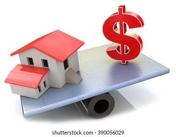 Model house and US Dollar symbol balancing on a seesaw in the design of access to information relating to the property
