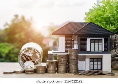 Model house with your deposit money.Real estate and mortgage investment concept.