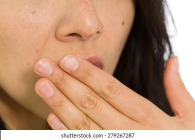 Model isolated covering mouth