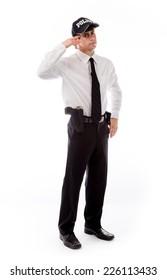 model isolated on plain background hand gesture gun