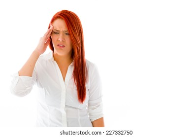 model isolated on plain background confused headache