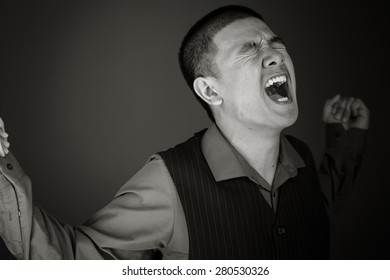 model isolated on plain background screaming