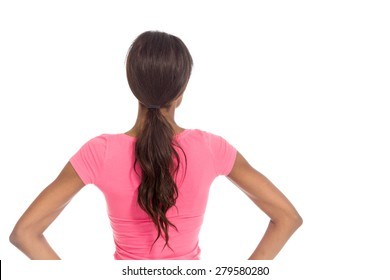 Model isolated showing her back
