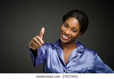 Model isolated thumbs up success