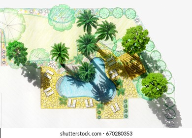 Model landscape architect design backyard plan for villa
