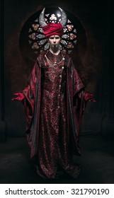 Model man in fantasy costume