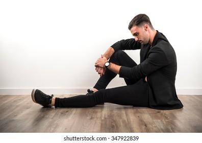 Model man in studio