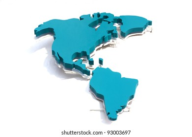 Model map of North and South America.