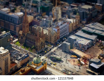 Model Melbourne. Tilt shift photography of the real Melbourne in Victoria, Australia