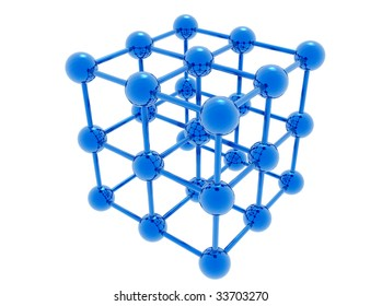 Model of molecular lattice isolated on a white background