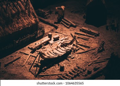 model of old viking village with the building of a ship