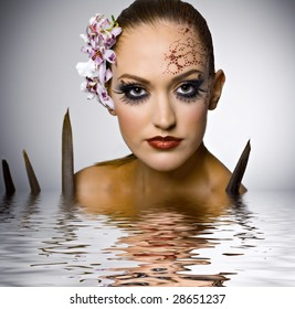 model with ornament on her head