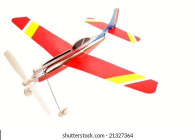Model plane on white background