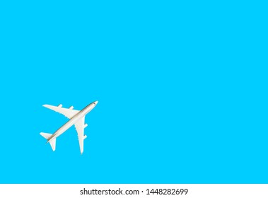 Model plane,airplane on blue pastel color background.