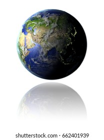 Model of planet Earth facing Asia hovering above reflective bright surface. 3D illustration isolated on white background. Elements of this image furnished by NASA.