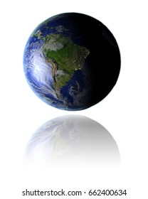 Model of planet Earth facing South America hovering above reflective bright surface. 3D illustration isolated on white background. Elements of this image furnished by NASA.