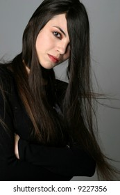 Model portrait with very long hair