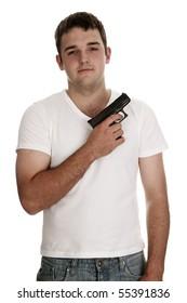 Model posing as an urban gang member with gun