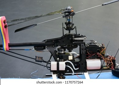 Model of a radio-controlled helicopter close-up. Aeromodeling as a hobby.