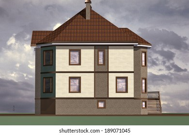 Model residential building constructed in traditional style with modern elements