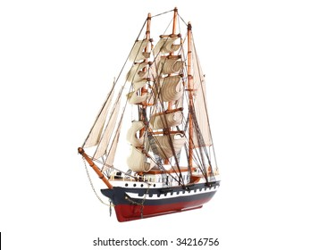 Model of sailing frigate. Isolated.