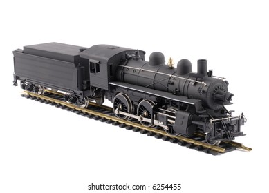 Model Scale North American Railway Locomotive Isolated Over White