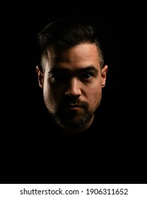 A model serious face with black background