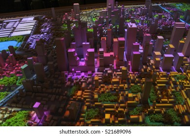 Model simulate of urban development in Banglampoo museum. Night shift. Lighting presentations