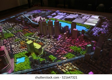Model simulate urban environment of Bangkok. In Ratanakosin museum. Lighting model present