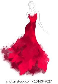 Model sketch silhouette in beautiful red dress. Fashion digital watercolor illustration