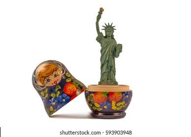 Model of the Statue of Liberty inside a Russian babushka doll or matryoshka doll