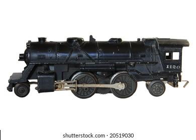 Model steam train over white background