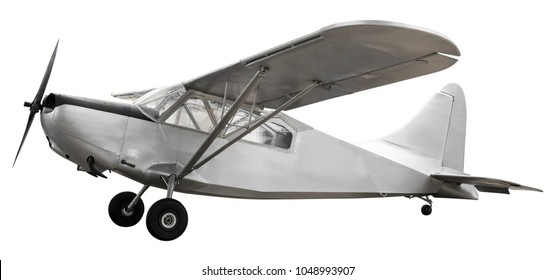 Model of steel ancient fight airplane isolated on white background with clipping path