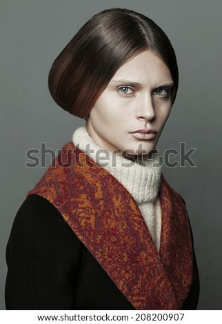 Model Strict Oldfashioned Clothes Hairstyle Stock Photo Edit Now