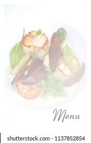 Model for a stylish restaurant menu