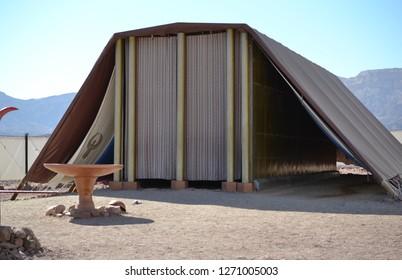 Model of Tabernacle, tent of meeting in Timna Park, Negev desert, Eilat, Israel