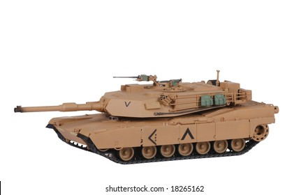 Model of tank M1 Abrams on the white