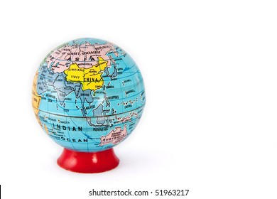 A model terrain globe. Asia and Oceania is shown