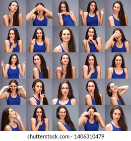 Model tests - a collage of emotions - portrait of a young beautiful brunette woman on a gray background