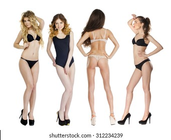 Model tests, Collage of four models in lingerie posing in the studio on an isolated white background