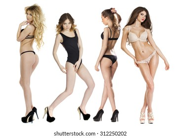 Model tests, Four Young slim women posing in sexy underwear, isolated white background