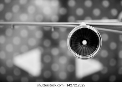 model of the turbofan engine on the airplane wing