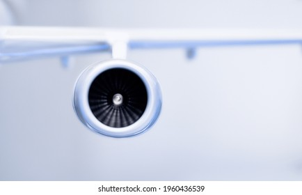 model of the turbofan engine on the airplane wing.
