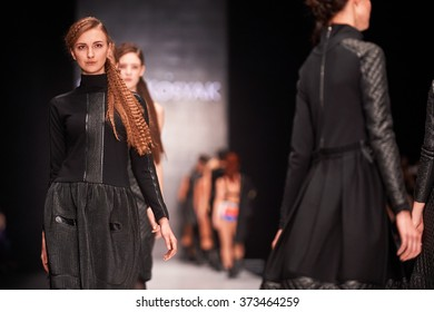 A model walks on the YULIA KOSYAK catwalk. Spring/Summer 2016. MERCEDES-BENZ FASHION WEEK RUSSIA. 23 October 2015, Moscow, Russia.