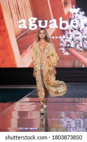 A model walks the runway for Agua Bendita Swimwear Summer collection 2021 fashion show during Paraiso Swim Week 2020 at Miami Beach, FL in the SLS Hotel South Beach on August 21st, 2020