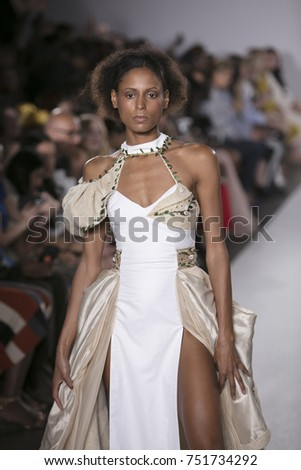 c5ec41bc9ee8 A model walks the runway for Cindy Monteiro Spring Summer 2018 collection  during New York Fashion