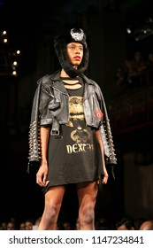 A Model walks the runway for Dexter Simmons spring summer 2018 fashion show during Art, Hearts & Fashion New York Fashion Week at the Angel Orensanz Center in New York, NY, on September 7th, 2018